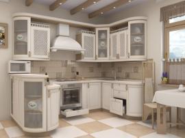 Кухня элегантная премиум класса беленый ясень с радиусными фасадами