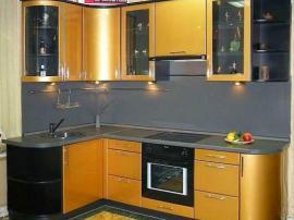 Кухня эмаль золотая с закругленными фасадами