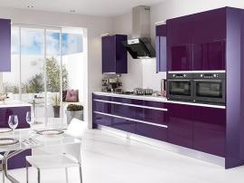 Кухня фиолетовая высокий глянец в стиле Хай Тек