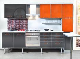 Кухня ХайТек модерн на ножках МДФ пластик оранжевая с черным
