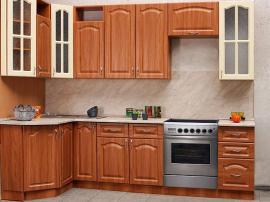 Кухня классика эконом вариант пленка под дерево двуцветная с отдельно стоящей плитой
