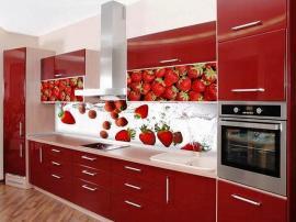 Кухня красная Клубничка с ручками релингами с фотопечатью на фасадах и со стеклянной стеновой панелью