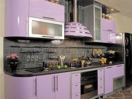 Кухня МДФ крашеная эмаль нежно-сиреневая прямая с закругленными фасадами