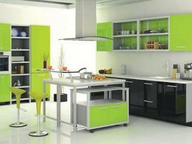 Кухня модерн ярко зеленая с черным МДФ пластик с островом