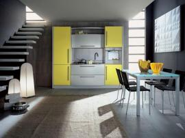 Кухня молодежная серебряная с лимонным цветом маленькая, выполнена из МДФ, эмаль матовая