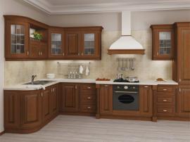 Кухня на заказ массив дерева угловая красивая стильная СДК