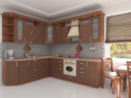 Кухня на заказ от фабрики угловая МДФ в плёнке ПВХ с классической фрезеровкой цвет под дерево
