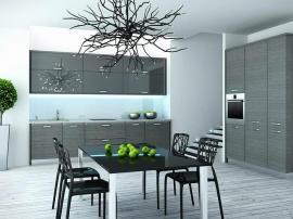 Кухня на заказ по двум стенам серый модерн