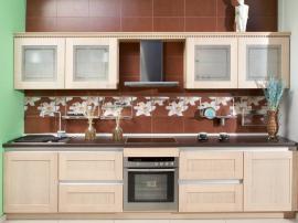 Кухня на заказ современная светлая, можно купить в исполнении МДФ пленка или массив