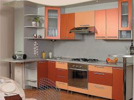 Кухня на заказ трехцветная медь с абрикосом МДФ пленка ПВХ