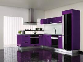 Кухня на заказ яркая фиолетовая Г образная