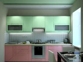 Кухня нежно розовая со светло зеленым стильная уютная выполнена из МДФ в пленке ПВХ