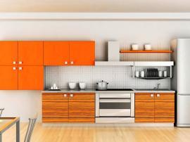 Кухня оранжевая апельсиновая с оригинальными навесными шкафами фасады МДФ в пластике