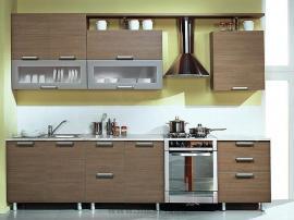 Кухня пластик маленькая прямая с текстурой дерева эконом класса стиль современный с отдельностоящей плитой