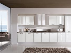 Кухня премиум класса белая, белоснежный пластик Acrilayn акрилайн, прямая кухня для больших помещений
