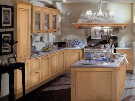 Кухня рамочный фасад с деревянной текстурой с островом СДК