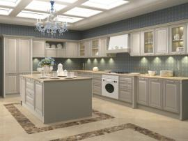 Кухня Силенцио нежно-серого цвета с итальянскими фасадами