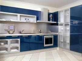 Кухня синяя эмаль модерн шикарная стильная красивая кухня на заказ