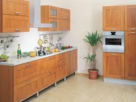 Кухня современная простая в пленке ПВХ под дерево цвет бук столешница искусственный камень