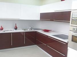 Кухня стильная МДФ в пластике в кромке 3Д цвет белый с черешней