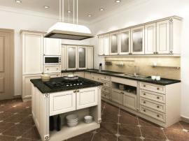 Кухня в античном стиле бежевая с элементами декора с островом СДК