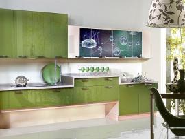 Кухонная мебель МДФ пластик на заказ с фотопечатью паутинка с нестандартными нижними шкафами