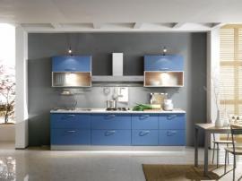Кухонная мебель модерн голубая МДФ в пленке ПВХ