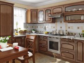 Кухонная мебель в классическом стиле со столешницей под окном