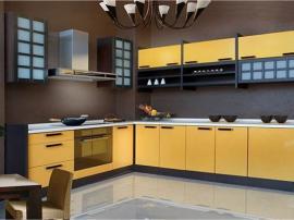 Кухонный гарнитур в восточном стиле ярко-желтый МДФ пленка ПВХ с вставками из массива модное направление