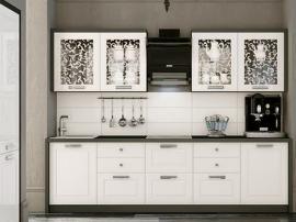 Неоклассика кухня с глянцевыми итальянскими фасадами и контрастной окантовкой