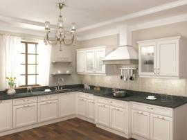 Отличная белая кухня с фасадами из МДФ эксклюзивный дизайн со столешницей из искусственного камня