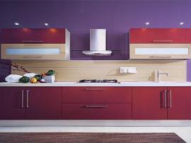 Простая прямая кухня недорогая с большими ящиками цвет ализарин
