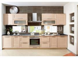 Стефания кухня из Италии, массив в современном стиле, песочные фасады с белёсыми прожилками