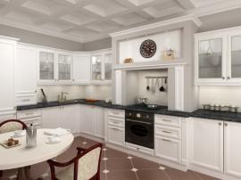Стильная красивая кухня на заказ с белыми фасадами МДФ бизнес класса СДК