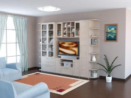 Белая простая гостиная по размерам с закругленными элементами