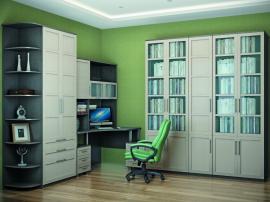Библиотечный шкаф бежевого цвета в современном стиле с крашеными фасадами в эмали