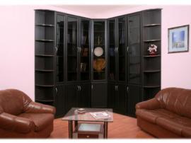 Черная недорогая библиотека на заказ цвета венге из МДФ угловая