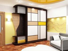 Цветной шкаф-купе жёлтый с бежевым под заказ с подсветкой