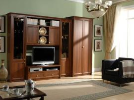 Классическая мебель в гостиную по индивидуальным размерам коричневого цвета