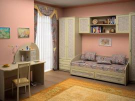 Мебель для детской в классическом стиле с цветочными вставками из пластика