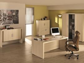 Мебель для кабинета руководителясветлая из тамбурата со сталом и шкафом на заказ