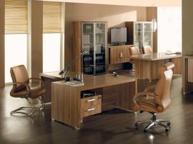 Мебель для офиса на заказ из МДФ и тамбурата песочного цвета