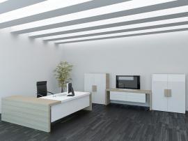 Мебель на заказ для рабочего кабинета белая со вставками из тамбурата и МДФ бизнес класса