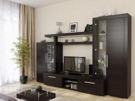Мебель в гостиную на заказ венге из МДФ с фрезеровкой с полками из тамбурата