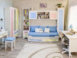 Нежная детская комната на заказ белого цвета из МДФ в пленке ПВХ