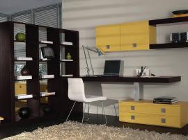 Рабочий стол и стенка из тамбурата цвета венге для детской комнаты