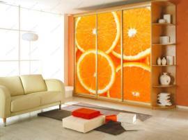 Современный шкаф- купе с фотопечатью Апельсины очень яркий и радостный