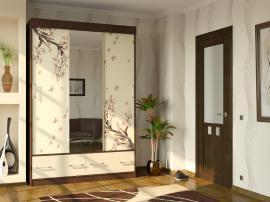 Удобный качественный шкаф в прихожую с раздвижными дверками с фотопечатью на фасадах МДФ