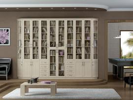Встроенная белая библиотека с рамочными фасадами и радиусными дверцами из МДФ