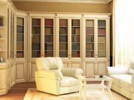 Встроенная библиотека на заказ с патиной и декоративными элементами из МДФ